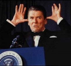 Ronald Reagan Making the Gesture of a Village Idiot