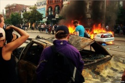 Photo of burning police car by James Ferguson