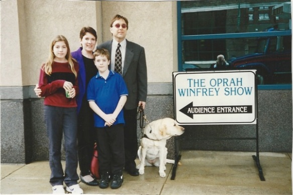 Stephen Kuusisto and family after his appearance on The Oprah Winfrey Show.