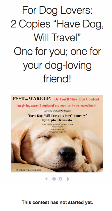 Have Dog, Will Travel Book Giveaway Contest
